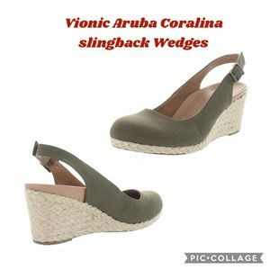 Vionic Coralina Olive Canvas Women Wedges Shoes